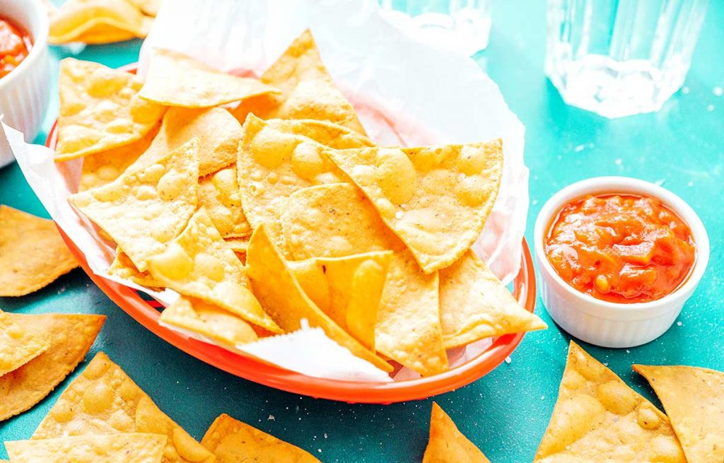 Homemade tortilla chips in a basket