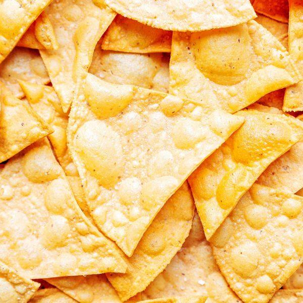 Close up photo of corn tortilla chips
