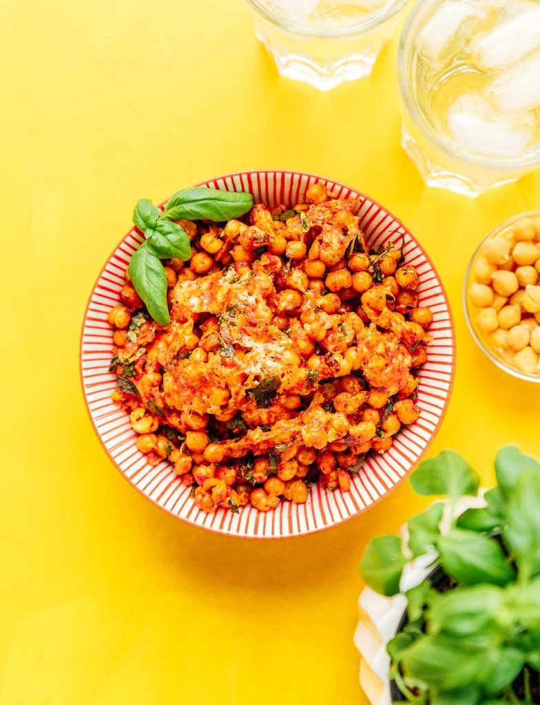 A bowl filled with pizza roasted chickpeas