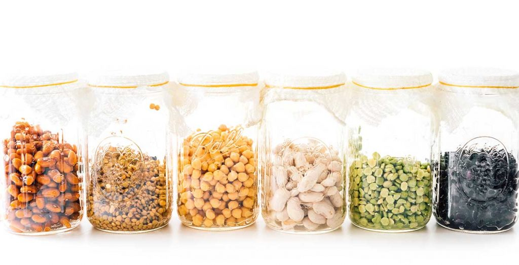 Different legumes in mason jars for sprouting