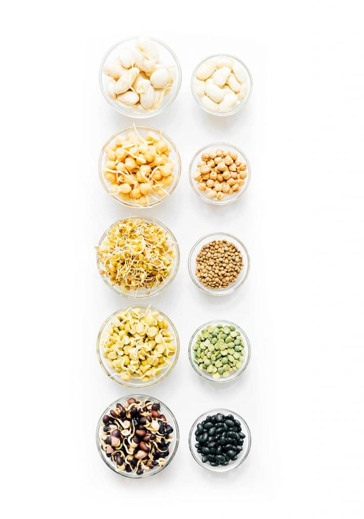 Sprouted legumes in a bowls on a white background