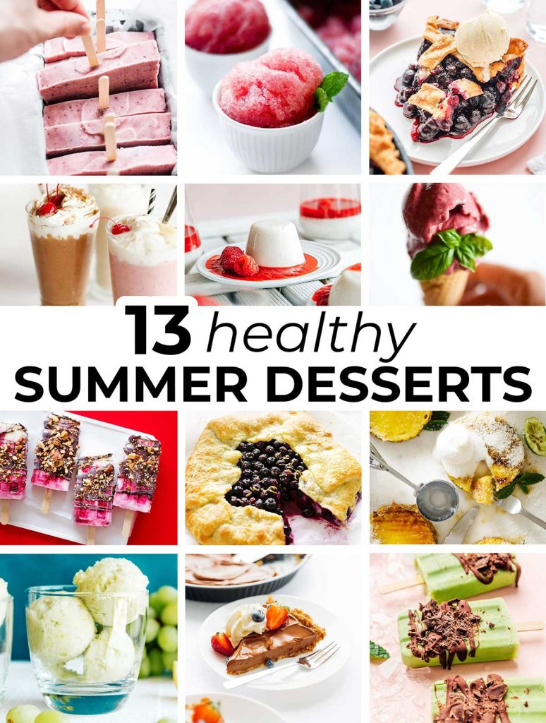 A 12 image collage comprised of 12 healthy summer dessert recipe featured images
