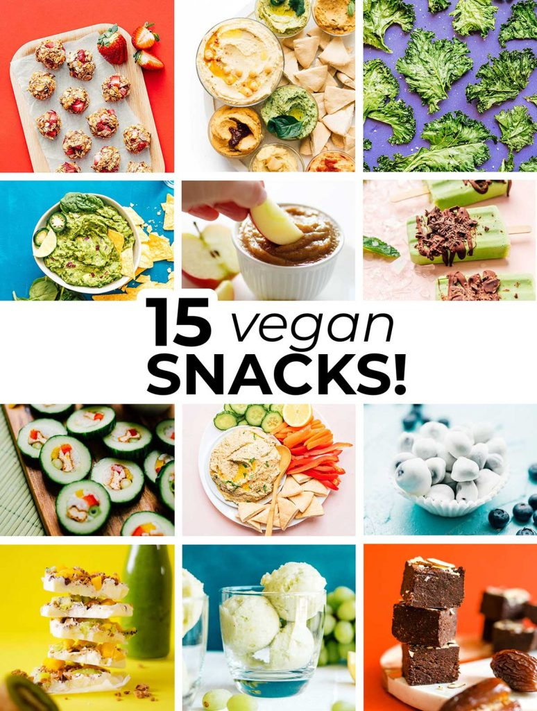 Collage including the featured photos of 15 easy vegan snack recipes
