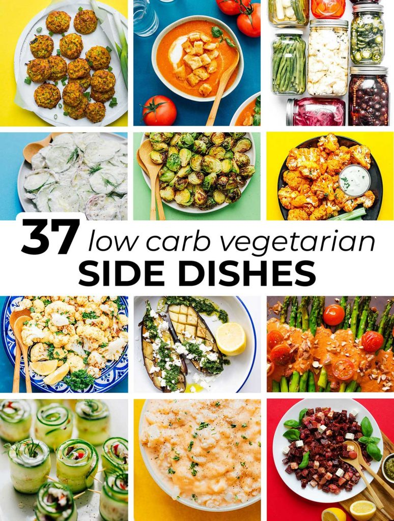 12 image collage including featured images from 12 low carb side dish recipes