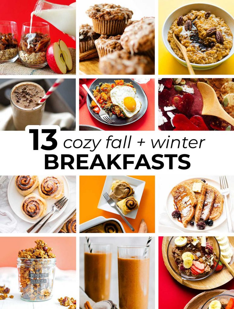 Collage including the featured images from 12 cozy fall and winter breakfast recipes