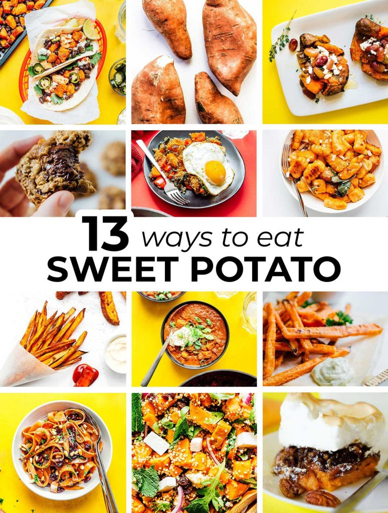 A 12-image collage including the featured images from 12 recipes made with sweet potatoes
