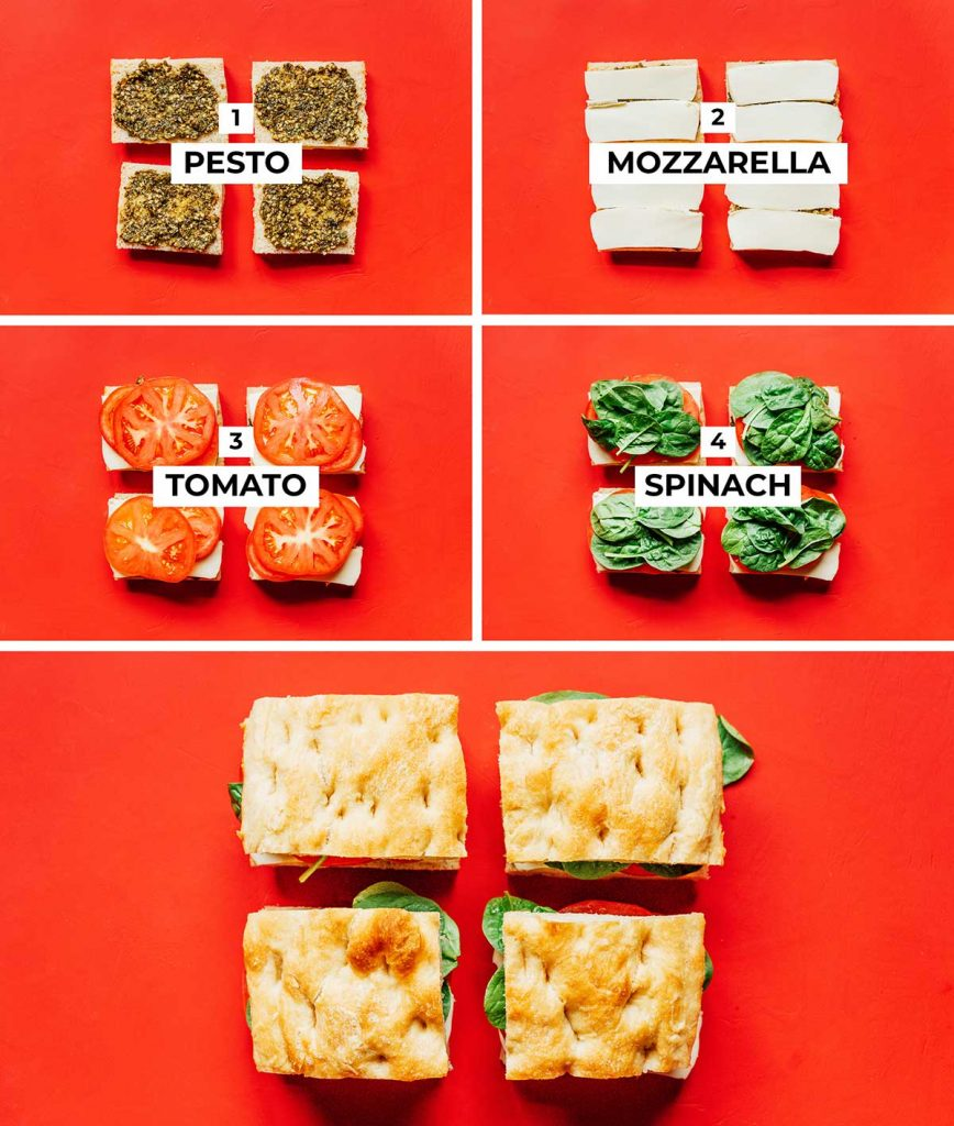 A 5-part image detailing the correct order for assembling the caprese panini: pesto, mozzarella, tomato, and spinach