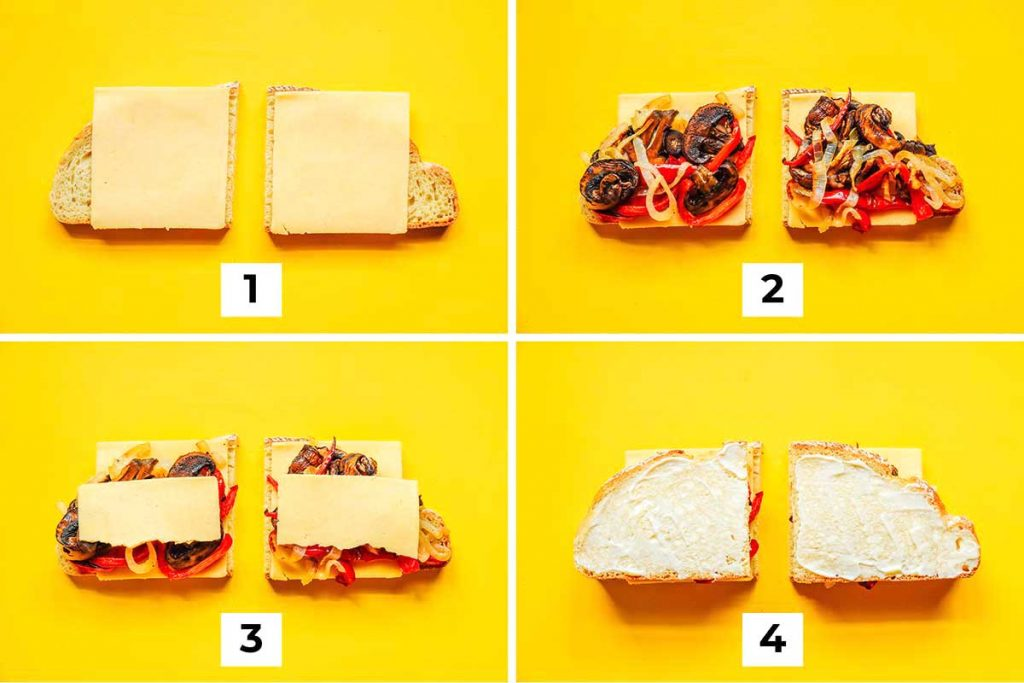 A 4-step image outlining the correct steps for layering the roasted vegetable grilled cheese ingredients