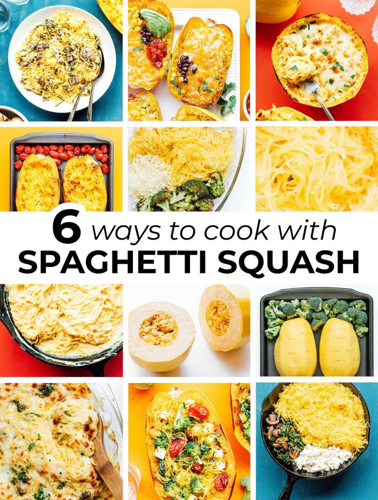 12-image collage featuring images pulled from 6 spaghetti squash recipes