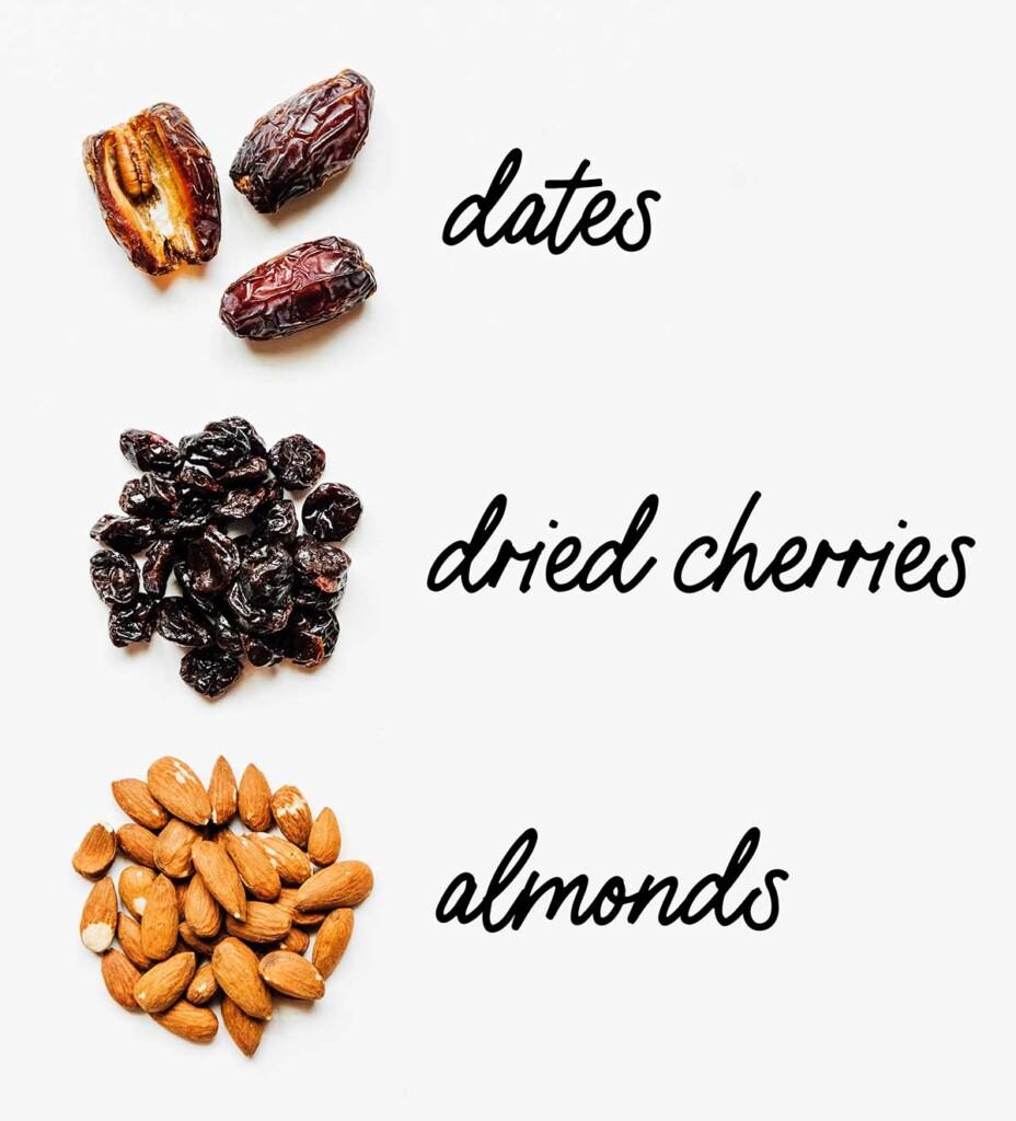 Cherry Pie Larabar ingredients on a white background