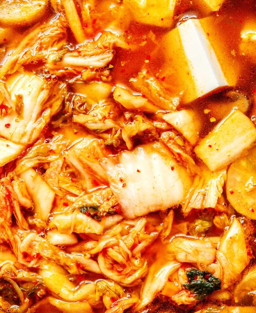 Closeup photo of kimchi soup