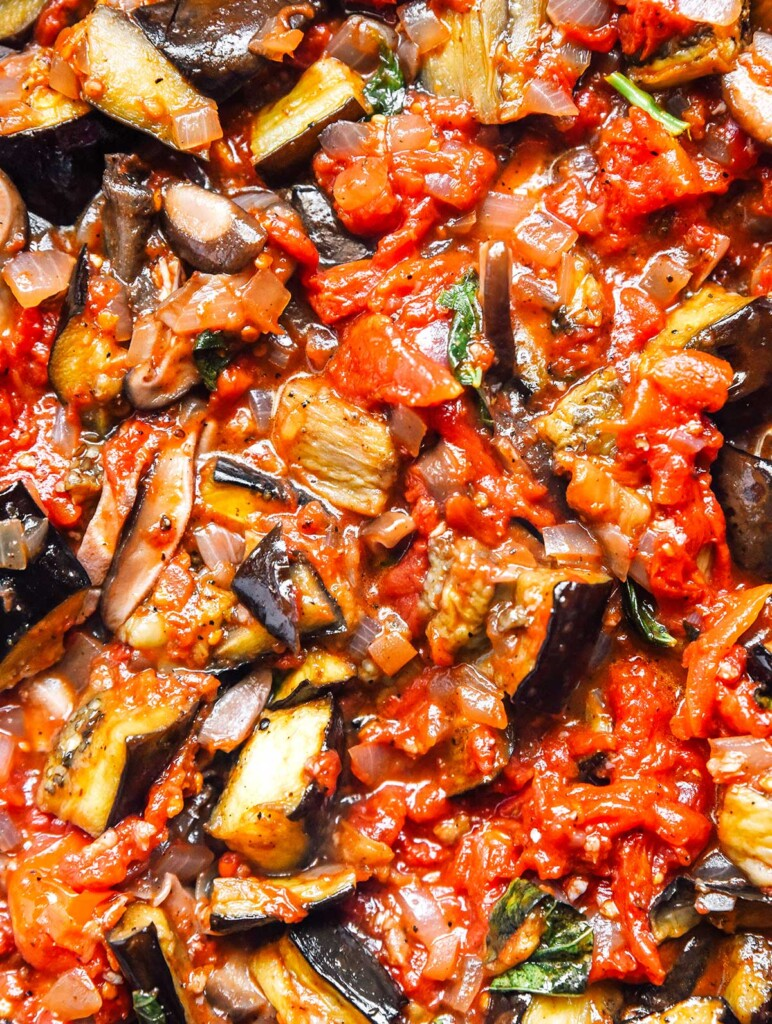A close up, detailed view of vegetable bolognese sauce ingredients
