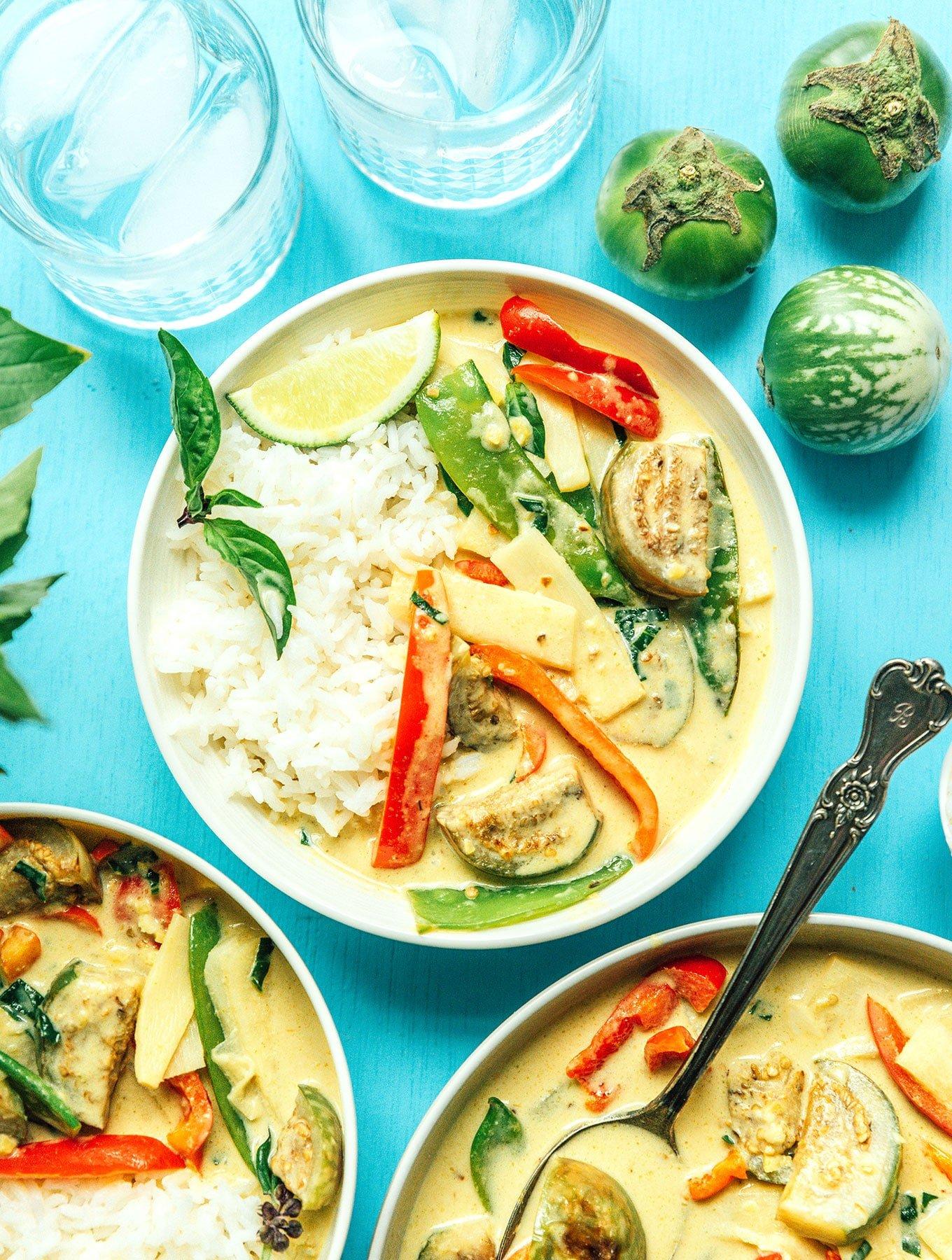Thai Green Curry with Eggplant Vegan