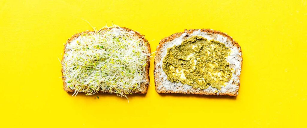 Two slices of bread lying open faced on a yellow background coated with layers of goat cheese, pesto, and sprouts