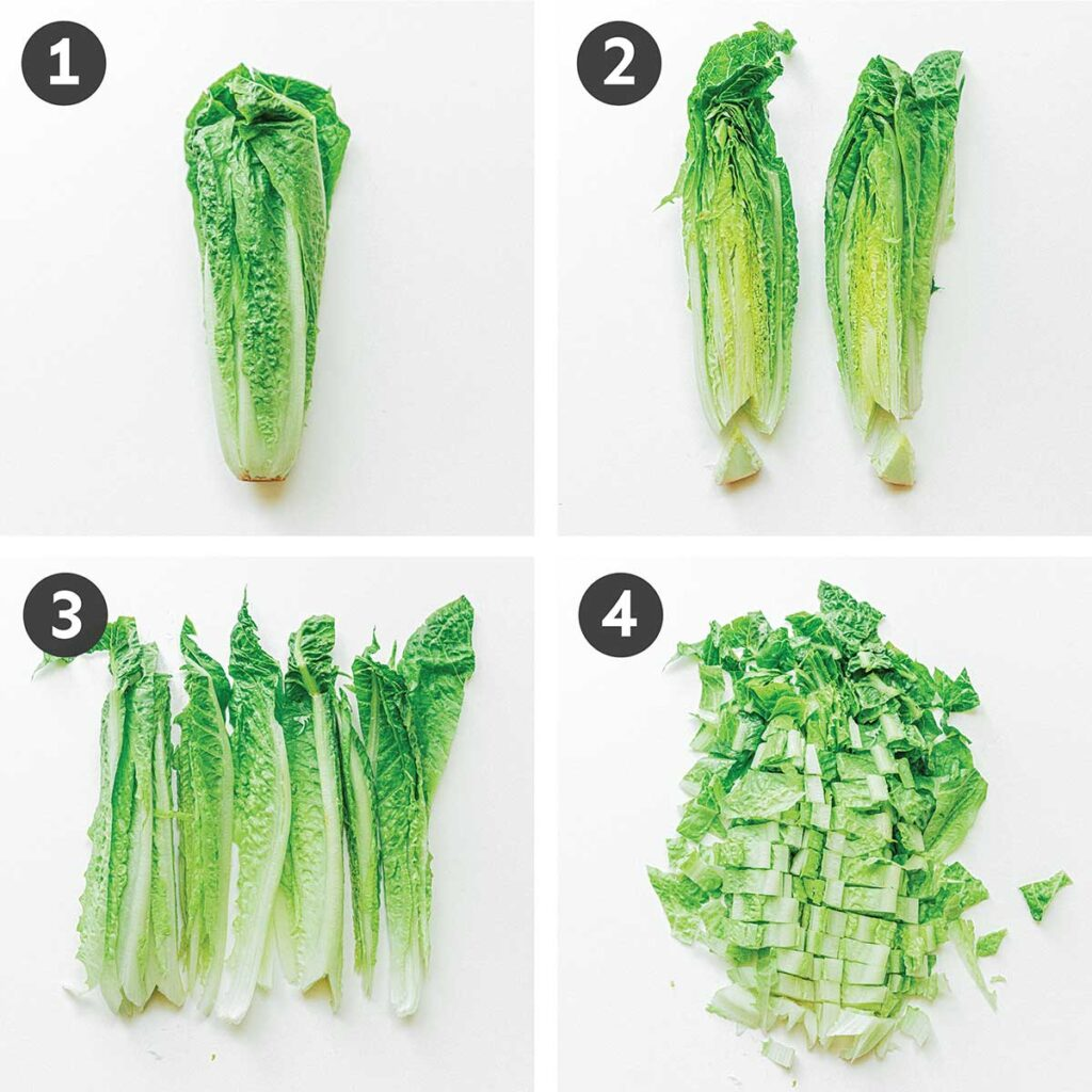 A 4-step image depicting how to cut romaine lettuce: cut down the center, remove the stems, and slice