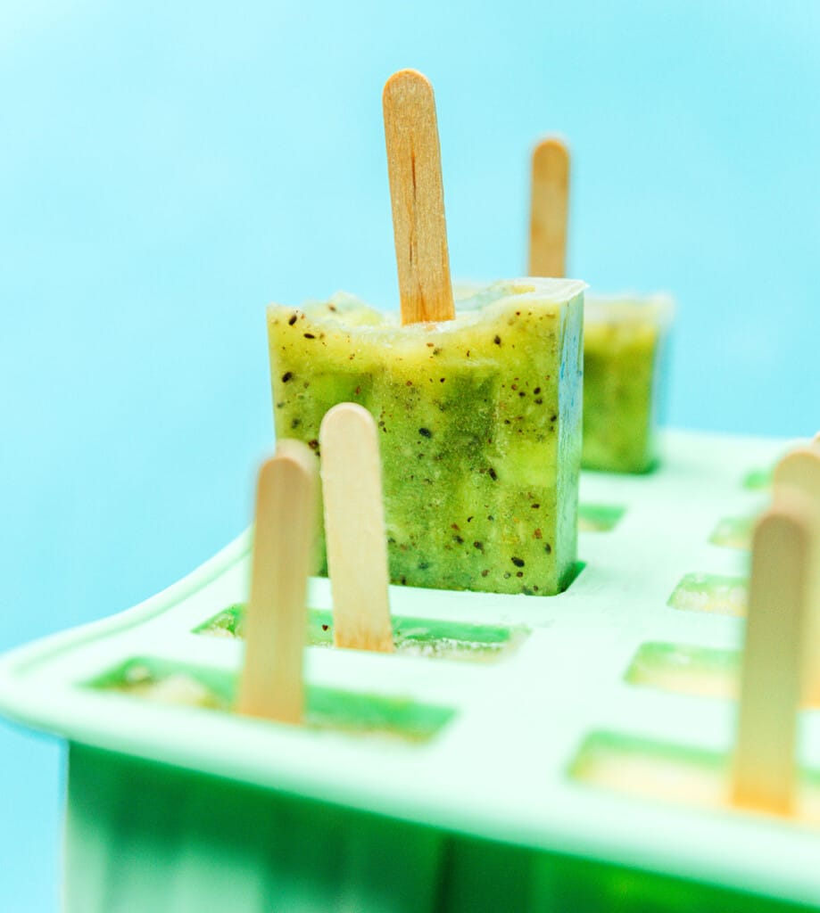 Kiwi popsicle in a popsicle mold