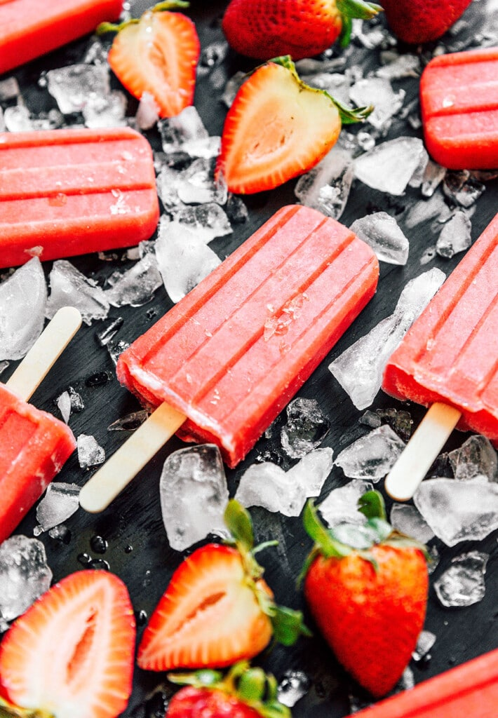 A close-up shot detailing the texture of sugar-free strawberry popsicles