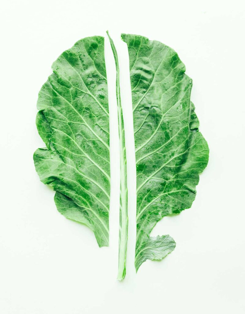Displaying how to remove the stem from a collard green leaf - simply make two vertical cuts on either side of the stem that span the length of the leaf so you're left with two separate halves